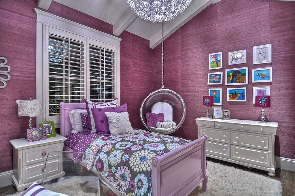 Contemporary Kids Bedroom with Exposed beam, Hardwood floors, Casement, Wallcovering, Hanging bubble chair, Chandelier, Bed