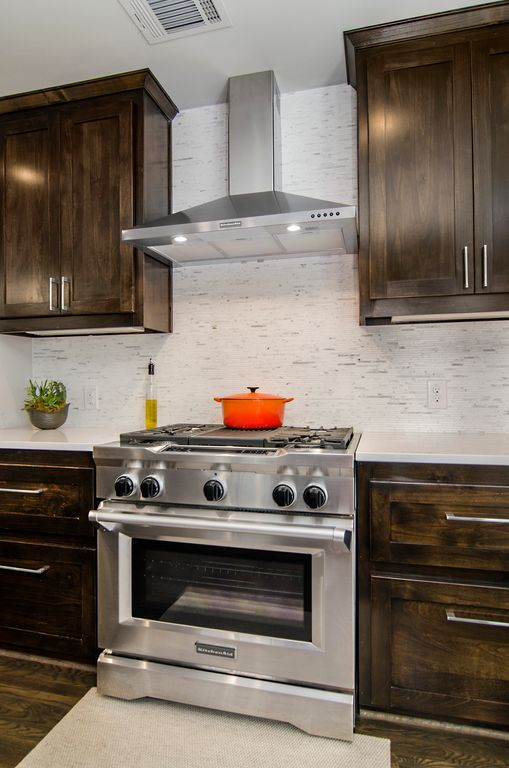 """Contemporary Kitchen with Flat panel cabinets, KitchenAid 36"""" Wall-Mount Canopy Range Hood w/ 3 Speeds - Stainless Steel"""