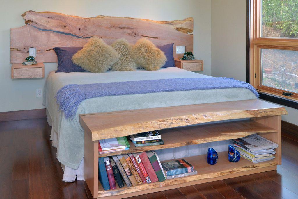 Master Bedroom with Standard height, double-hung window, Built-in bookshelf
