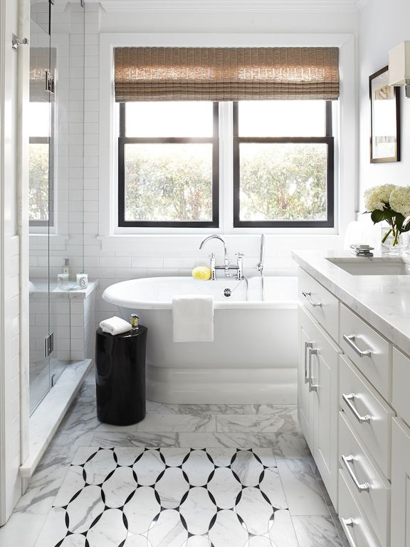 Traditional Master Bathroom with double-hung window, Wall Tiles, Inset cabinets, Standard height, Master bathroom, Shower