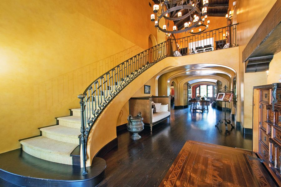 Cathedral/Arched, Chandelier, Exposed Beams, Hardwood, Mediterranean, Specialty