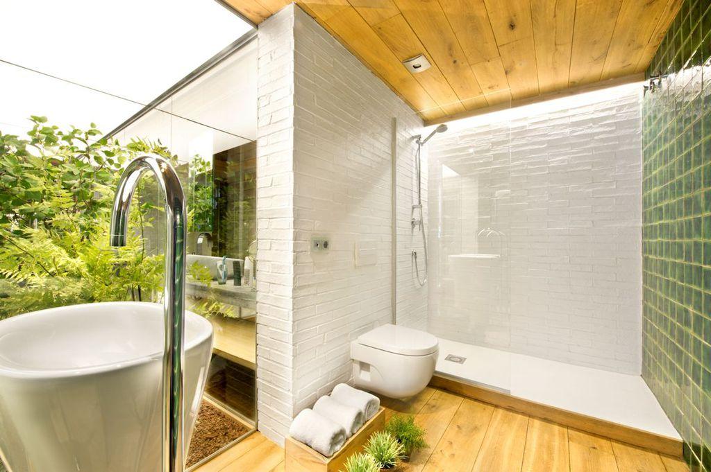 Contemporary 3/4 Bathroom with flush light, three quarter bath, Standard height, Ceramic Tile Trends - Plain Emerald Green
