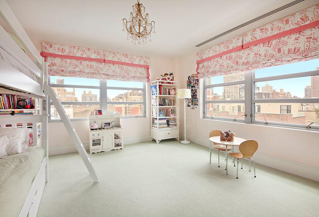 Traditional Kids Bedroom with Chandelier, Standard height, Crown molding, Casement, Carpet, no bedroom feature
