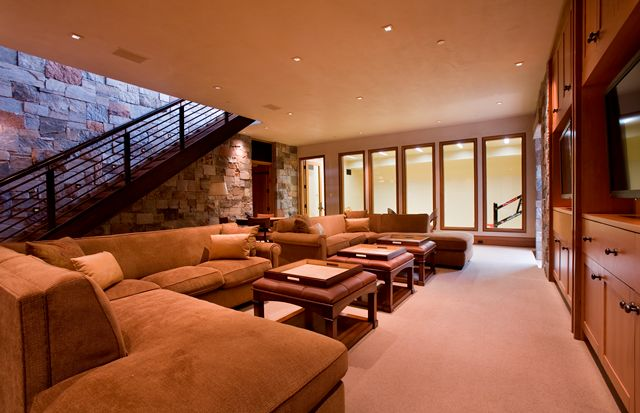 Traditional Home Theater with Natural iron railing, Built-in bookshelf, Carpet, Natura stone wall, Natural stone wall