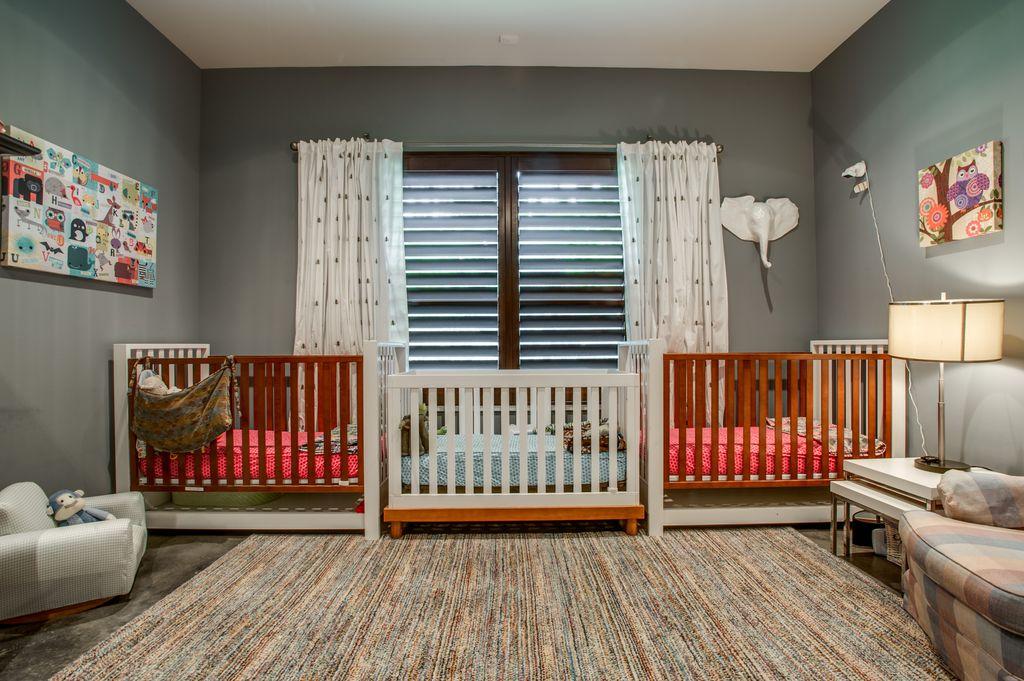 Modern Kids Bedroom with Standard height, Carpet, picture window, no bedroom feature
