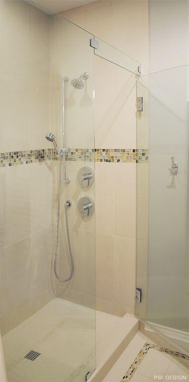 Modern Full Bathroom with Handheld showerhead, frameless showerdoor, Choose Frameless Pivot Hinge Shower Door Configurations