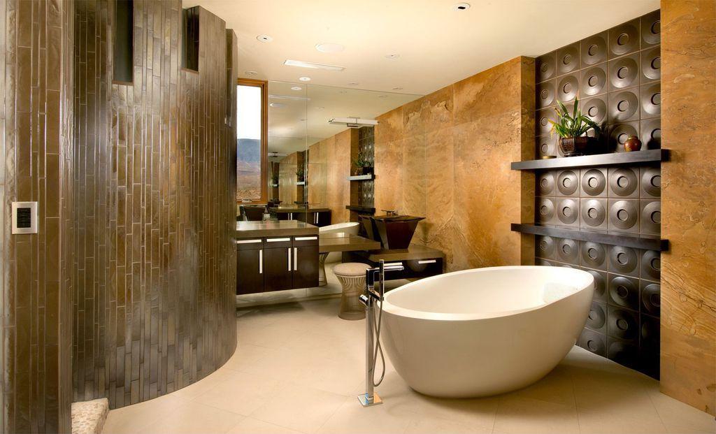 Contemporary Master Bathroom with limestone tile floors, Casement, Limestone counters, Master bathroom, Wall Tiles, Bathtub