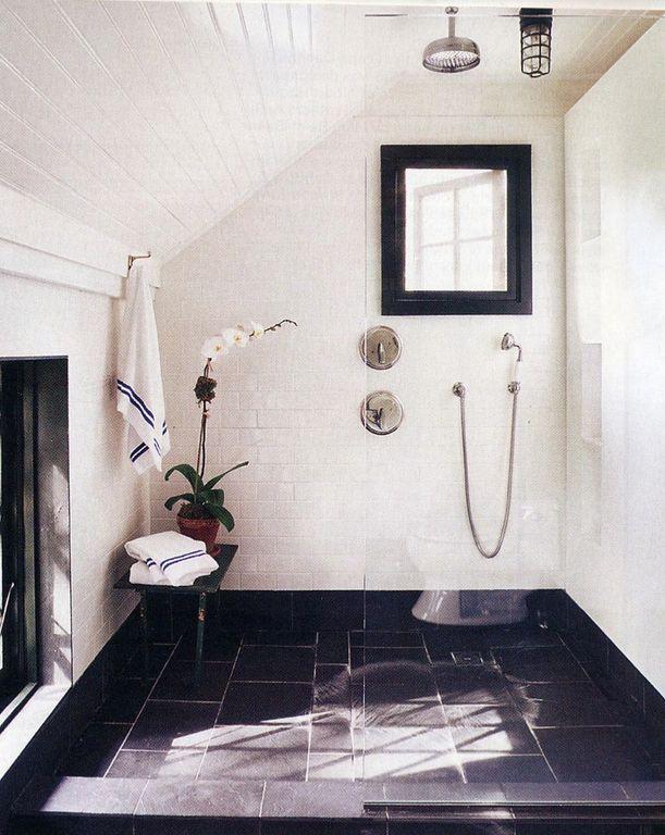 Contemporary Master Bathroom with Standard height, Handheld showerhead, no showerdoor, Shower, stone tile floors, Casement