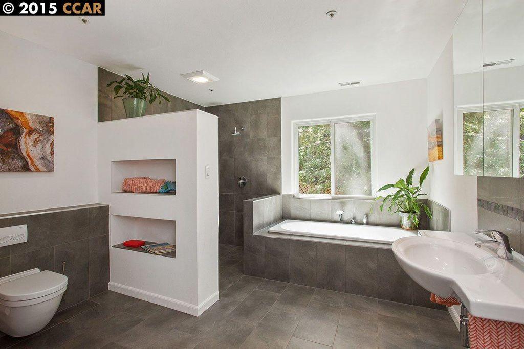 Modern Master Bathroom With Wall Mounted Sink Master Bathroom In