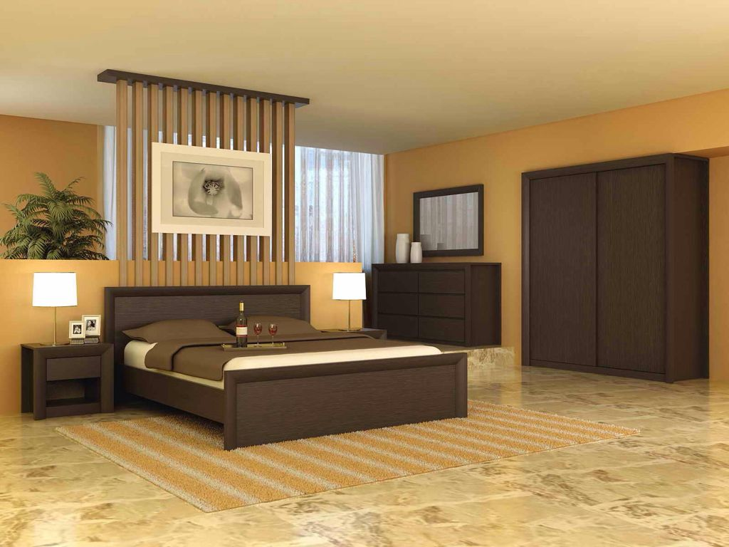 Modern Master Bedroom with picture window, slate floors, Standard height