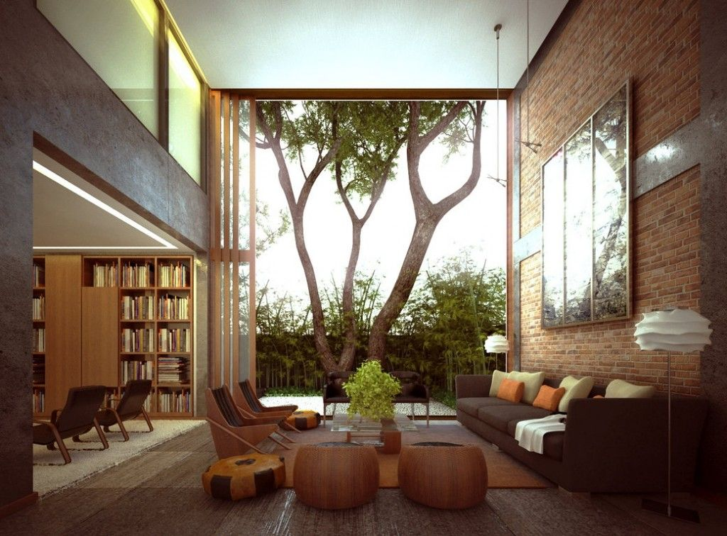 Modern Living Room with interior brick, Carpet, High ceiling, specialty door, picture window, Pendant light
