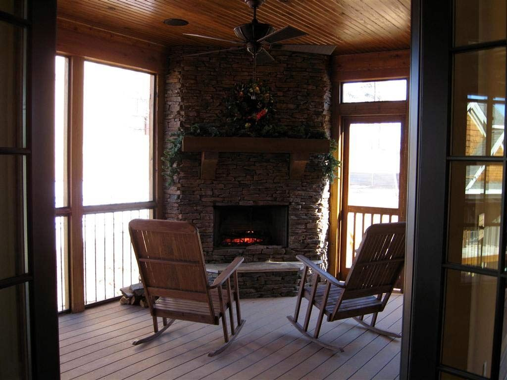 Country Porch with Screened porch, Deck Railing, picture window
