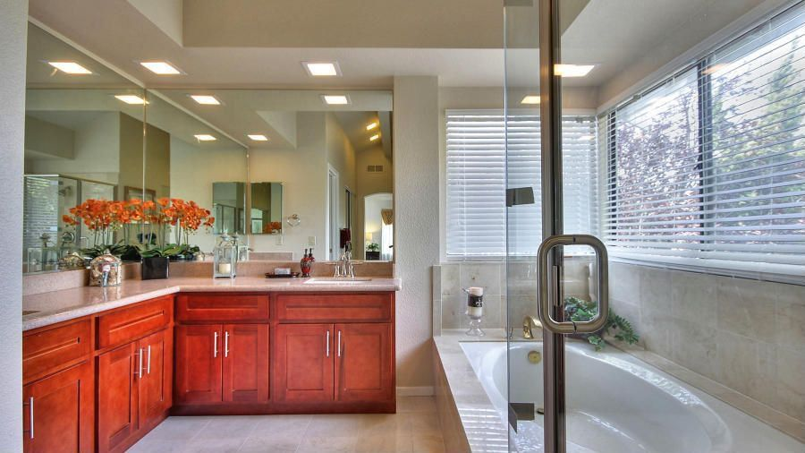 Traditional Master Bathroom with Undermount sink, Master bathroom, Simple granite counters, Flat panel cabinets, flush light