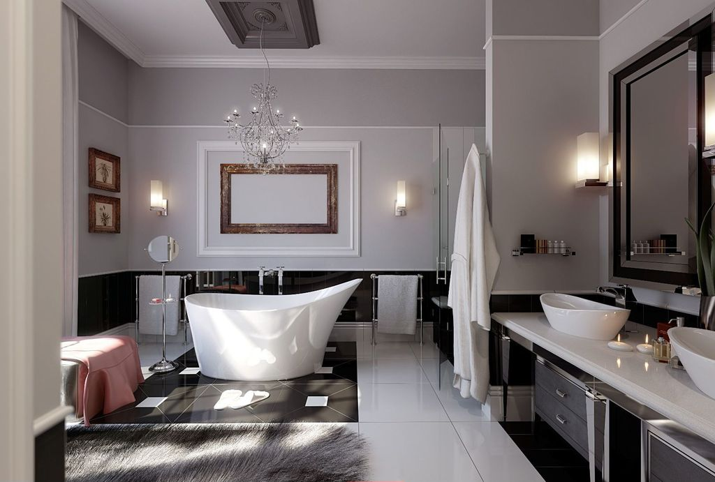 Master Bathroom with Victoria and Albert Amalfi freestanding tub, Paint 2, Double sink, Crown molding, Wall sconce, Flush