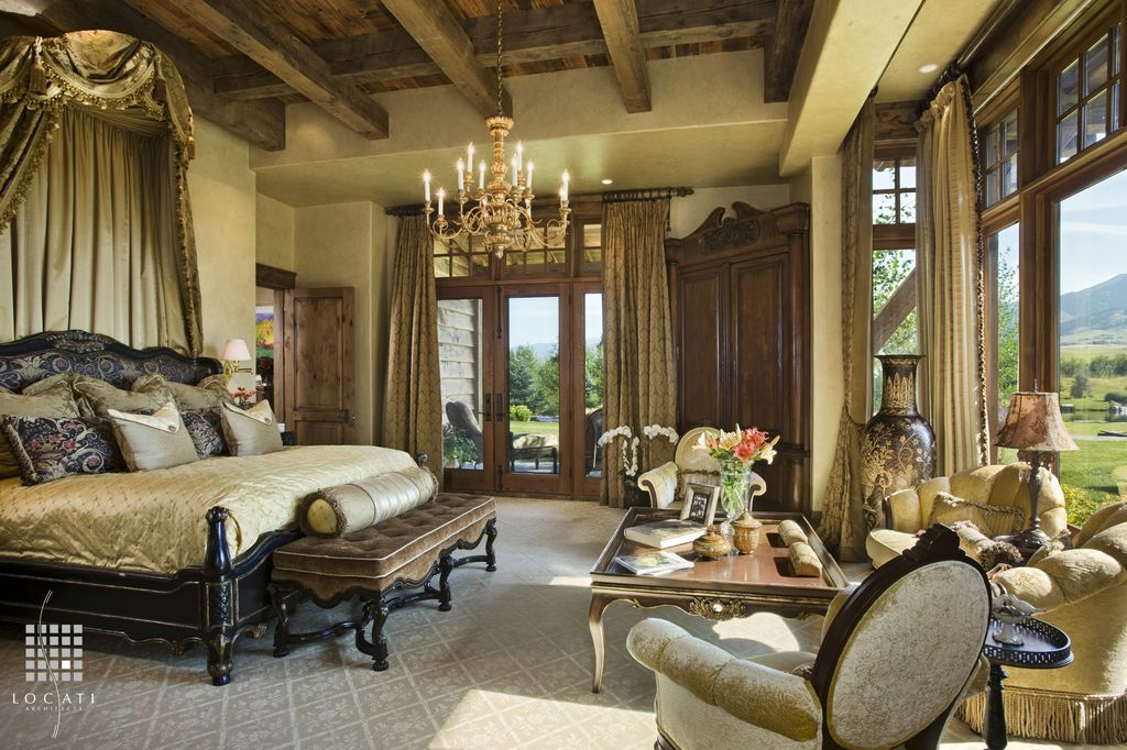 Traditional Master Bedroom with six panel door, Transom window, French doors, Paint, Exposed beam, picture window, Carpet