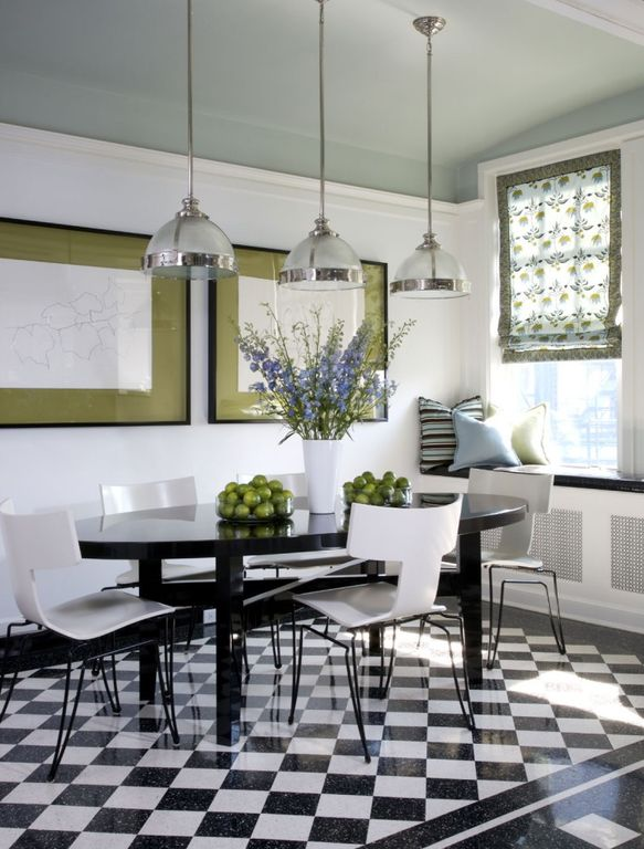 Contemporary Dining Room with Granite floor and wall tile, Crown molding, Pendant light, Checkerboard floor, Window seat