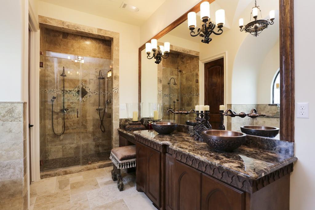 Mediterranean Master Bathroom with Shower, Lenora double-wall copper vessel sink, Complex Granite, stone tile floors, Amarone