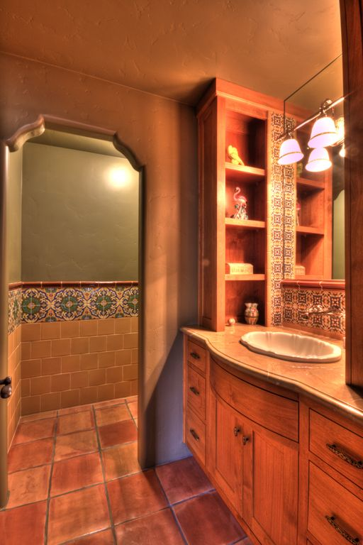 "Eclectic Powder Room with Paint 2, European Cabinets, Flat panel cabinets, Wood counters, Talavera Tile - Bullnose 6"" x 6"""