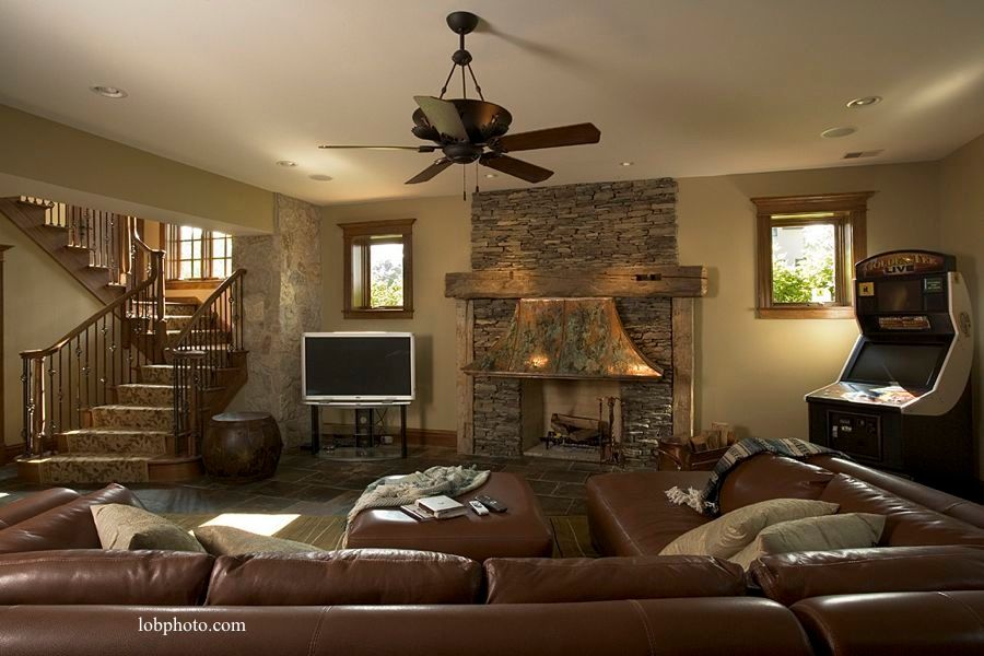 Rustic Basement With Stone Fireplace M Rock Manufactured Stone Sweet