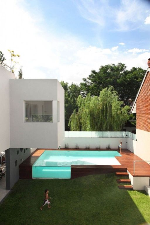 Modern Swimming Pool with Other Pool Type, picture window, Fence, Pathway