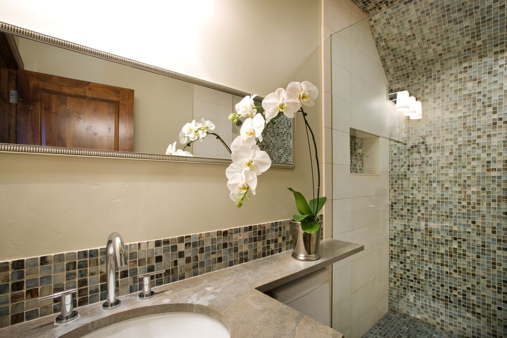 Contemporary 3/4 Bathroom with three quarter bath, specialty door, Undermount sink, Standard height, Ceramic Tile, Wall Tiles