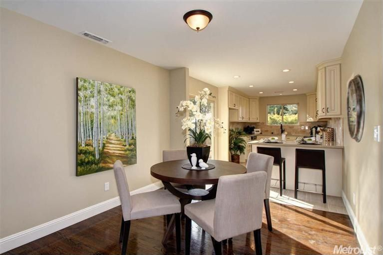 Contemporary Dining Room with Paint, flush light, Hardwood floors, Canvas art work, Light walnut flooring, Standard height