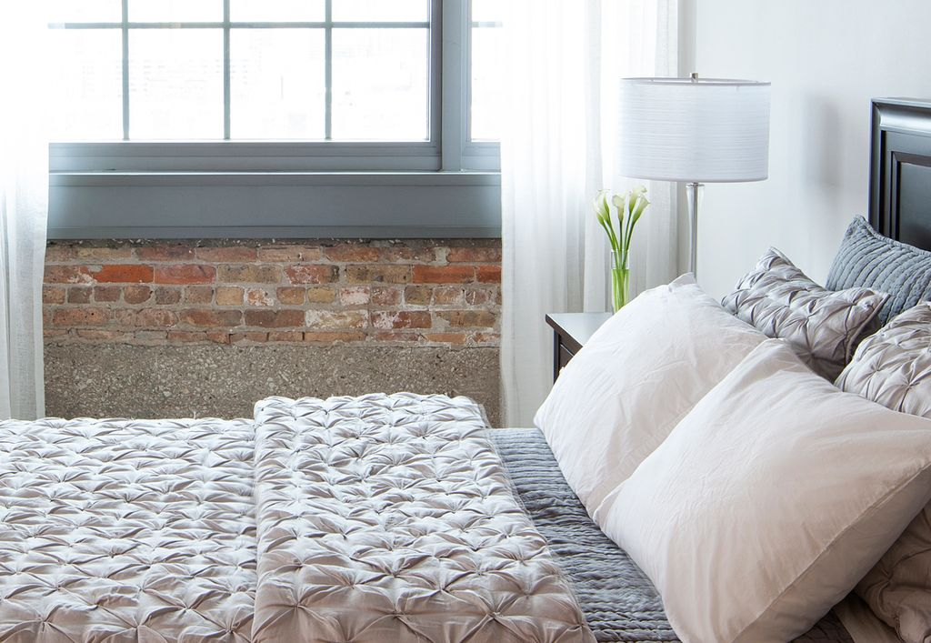 Contemporary Master Bedroom with West elm - pintuck duvet cover, Paint 1, Standard height, Paint, picture window