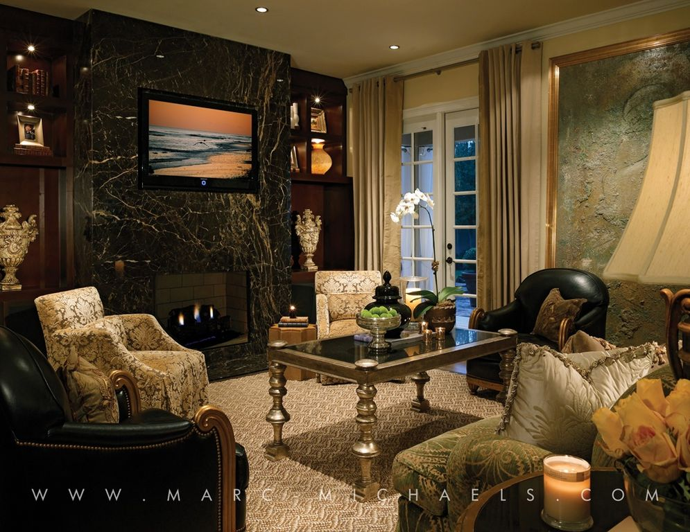 Traditional Living Room with stone fireplace, French doors, Crown molding, Standard height, Fireplace, quartz floors