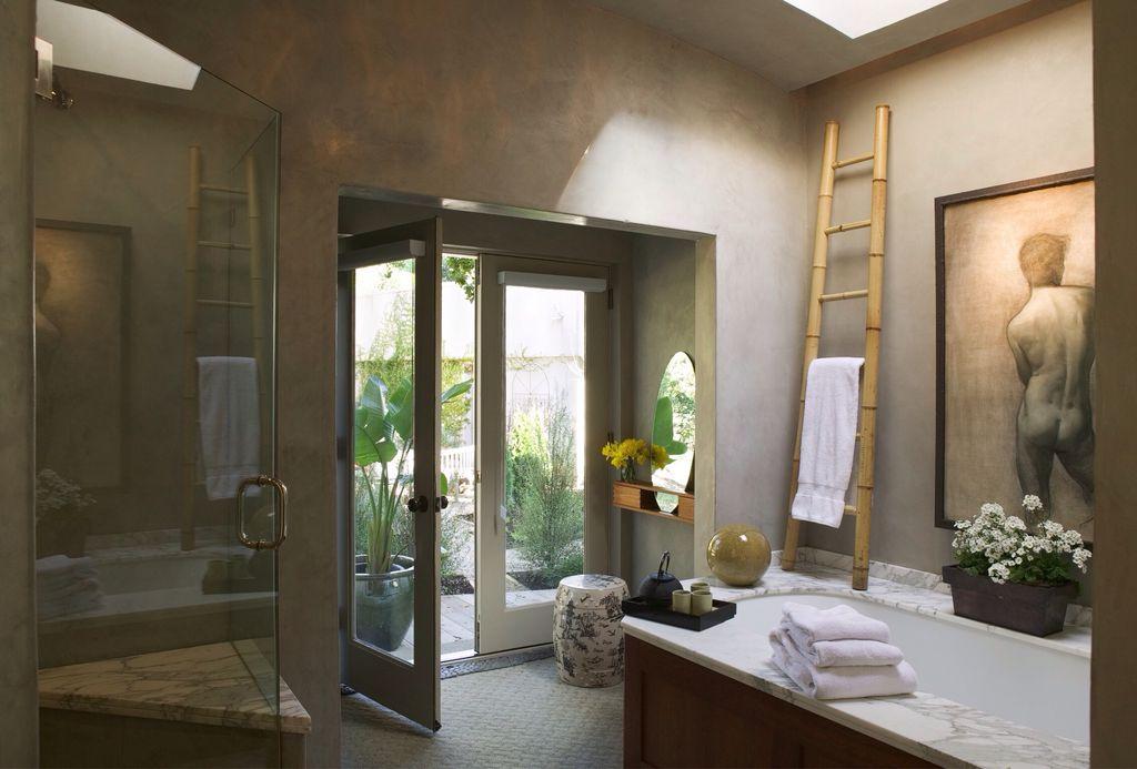 Eclectic Master Bathroom with Skylight, Master bathroom, Carpet, Bathtub, French doors, Standard height