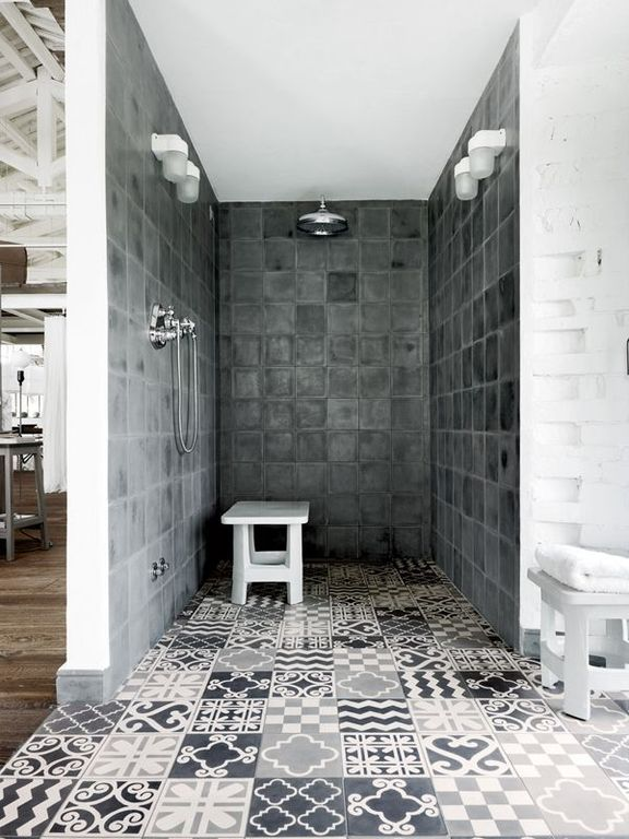 Eclectic Master Bathroom with Rain shower, Master bathroom, Shower, Standard height, Handheld showerhead, Mexican tile