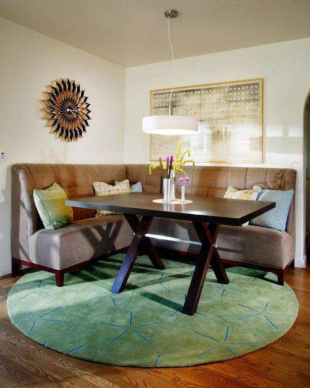 Contemporary Dining Room with Pendant light, Standard height, Hardwood floors