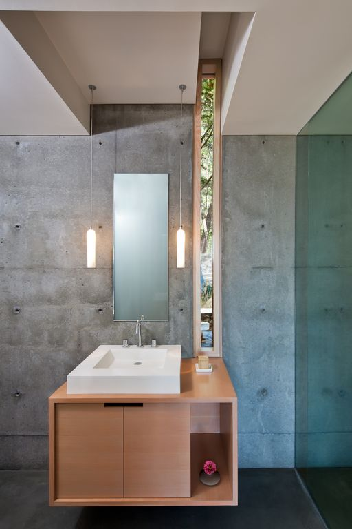 Contemporary Full Bathroom with Paint, Interior concrete wall, Ceramica Tecla Mars Ceramic Bathroom Sink with Overflow