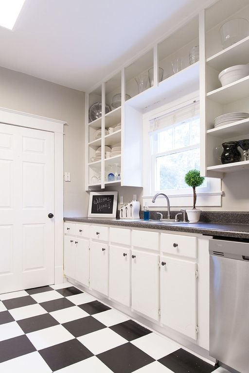 Traditional Kitchen with dishwasher, Simple granite counters, One-wall, Flat panel cabinets, six panel door, Inset cabinets