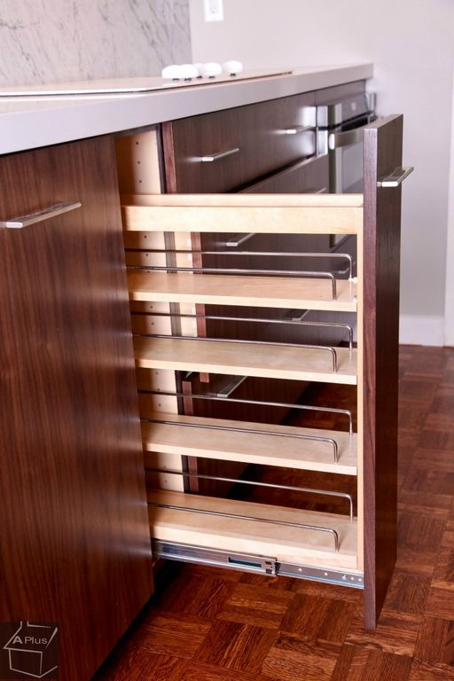 Modern Pantry with Pull-out cabinet, Cherry stain finish, Kitchen cabinet