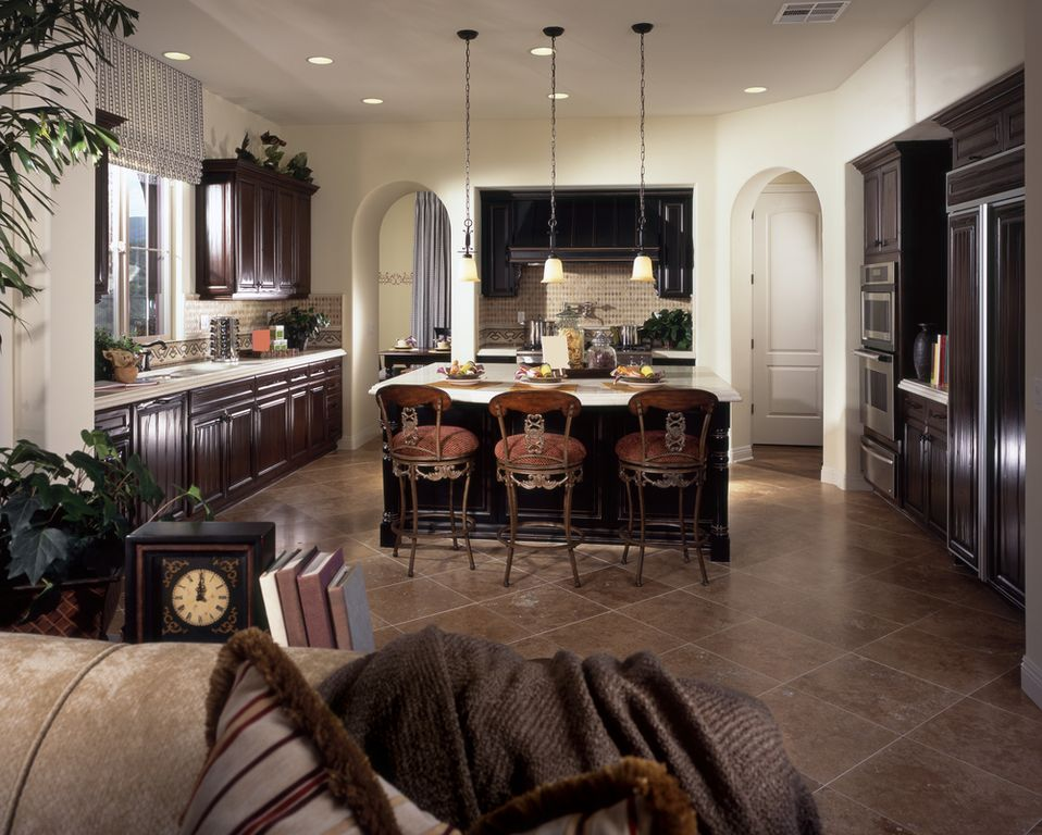 Traditional Kitchen with U-shaped, Raised panel, Corian counters, dishwasher, full backsplash, Custom hood, specialty door