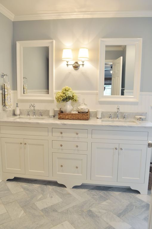 Traditional Master Bathroom with Undermount sink, White framed mirror, Inset cabinets, Double sink, Wall sconce, Paint
