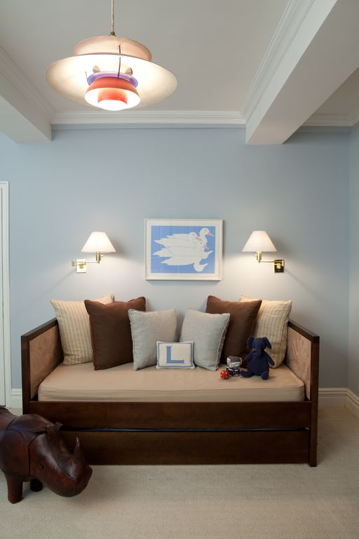 Contemporary Kids Bedroom with no bedroom feature, Crown molding, Carpet, bedroom reading light, Pendant light, Exposed beam