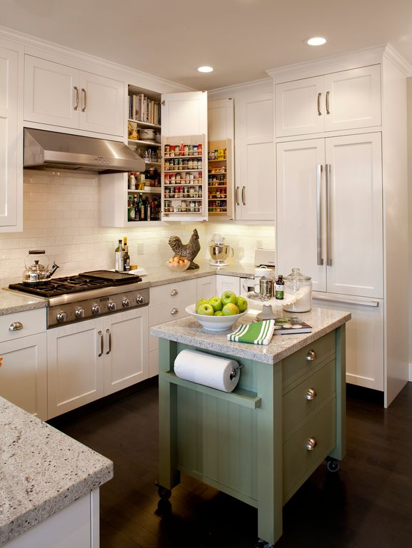"""Country Kitchen with Paint 1, Rev a shelf door storage spice rack, Simple granite counters, PROFILES 3"""" X 6"""" - ICE WHITE"""