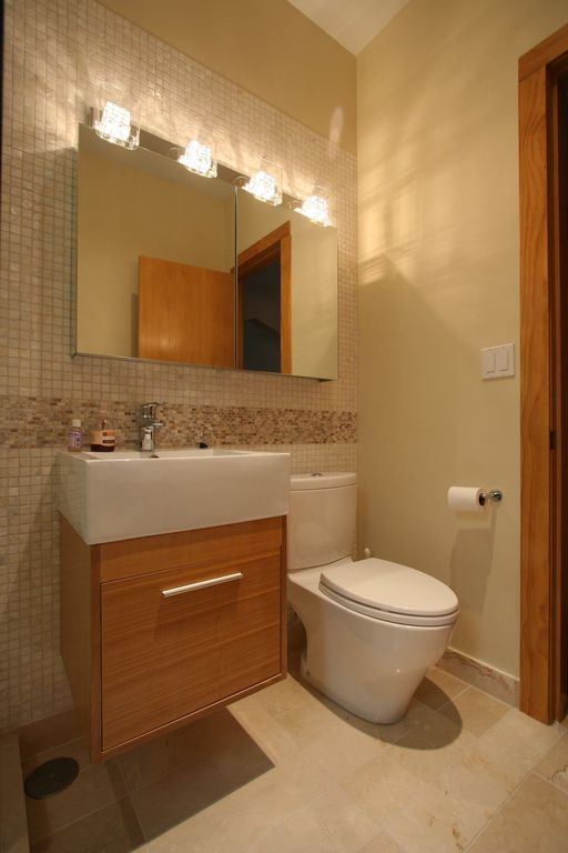 "Contemporary Powder Room with Flat panel cabinets, Midori 24"" single bathroom vanity in plum, Subway Tile, full backsplash"