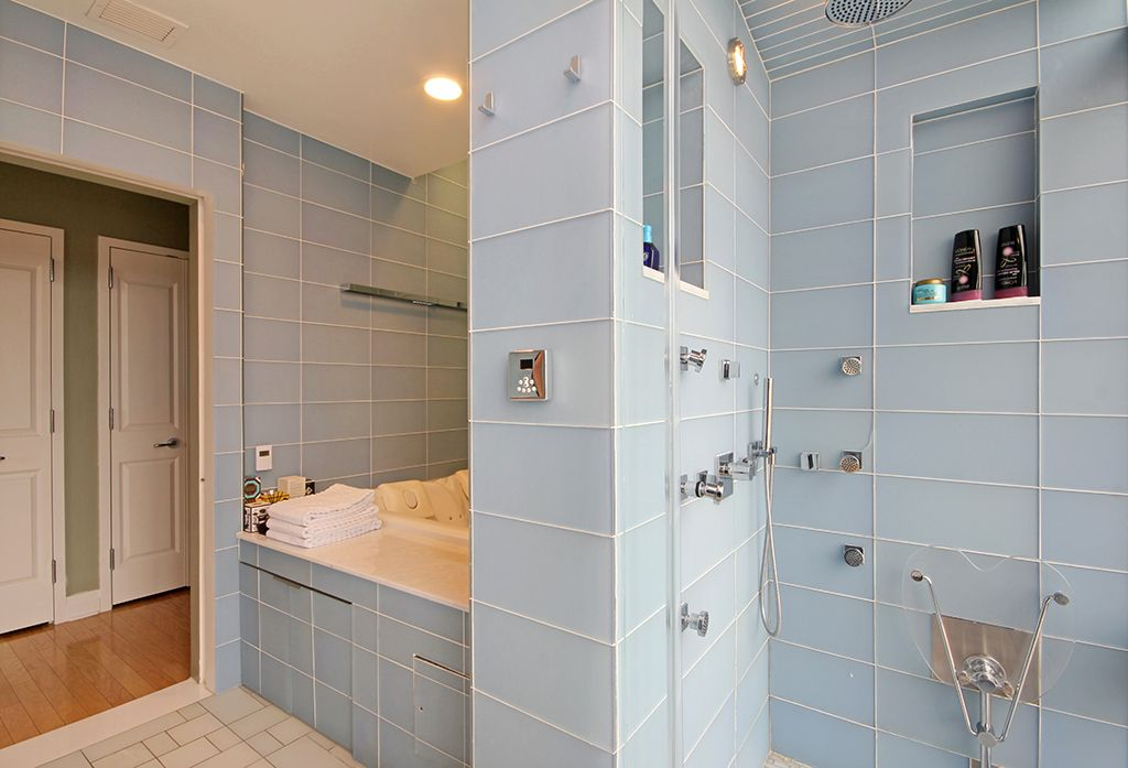 Contemporary Master Bathroom with Master bathroom, Bathtub, specialty door, stone tile floors, Shower, Handheld showerhead
