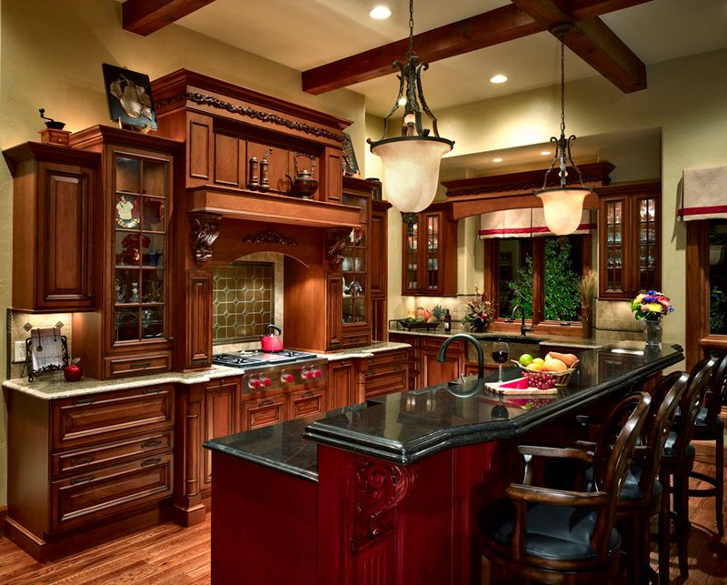 Traditional Kitchen with can lights, U-shaped, Simple granite counters, Breakfast bar, Exposed beam, Framed Partial Panel