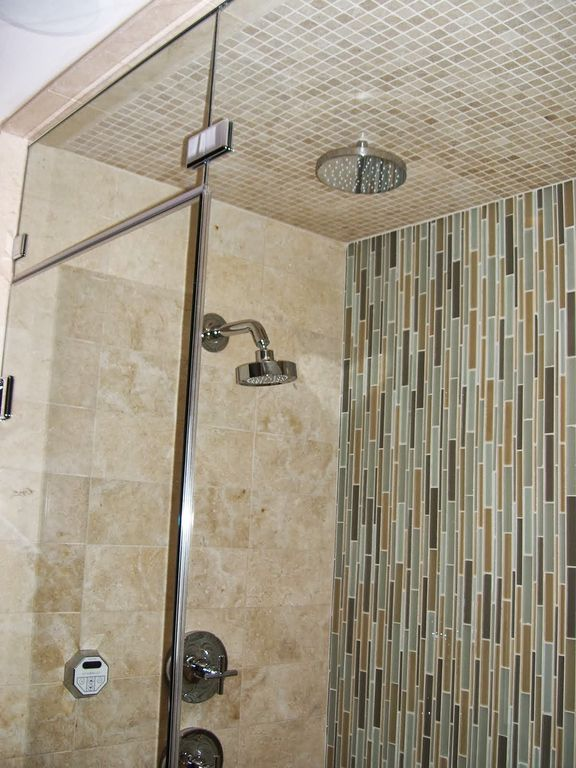 Contemporary Master Bathroom with Surfaces elida glass mosaic in butter stone, Escorial blend interlocking 8mm mosaic