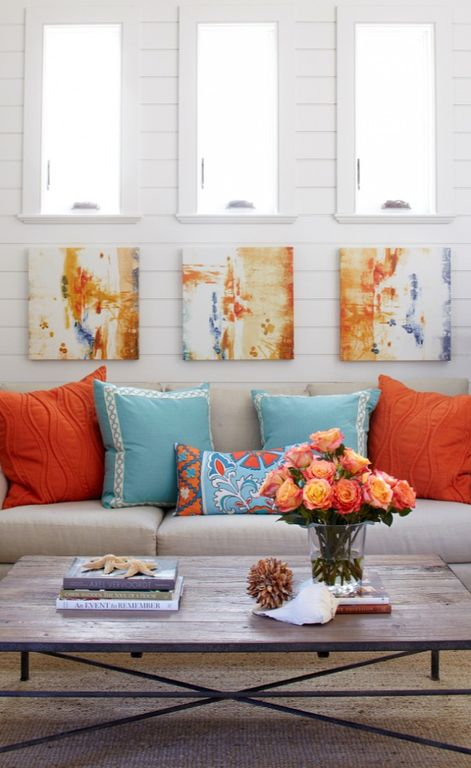 Contemporary Living Room with Horizontal wood paneling, Alexis Bueno Abstract Canvas Wall Art (Set of 3)