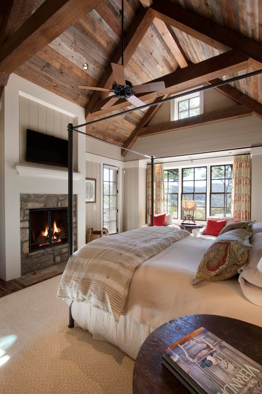 country master bedroom with stone fireplace capel rugs elsinore