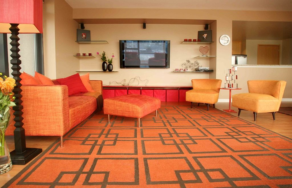 Modern Living Room with Hardwood floors, Carpet, West Elm Overlapping Squares Rug in Cinnabar/Espresso - Discontinued