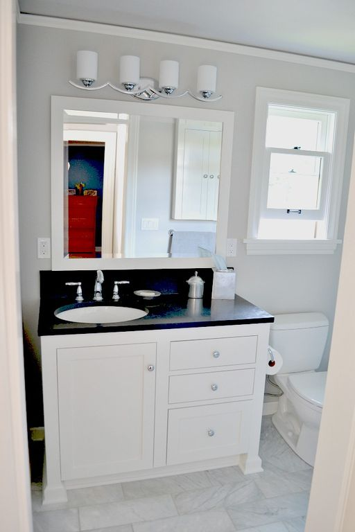 Traditional Master Bathroom with Daltile contempo white (polished & honed) m313, Undermount sink, European Cabinets, Paint 1