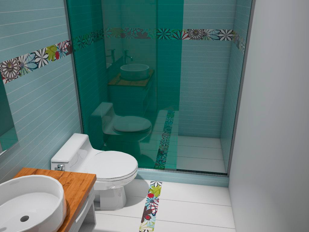 Contemporary 3/4 Bathroom with Flush, stone tile floors, Standard height, Wood counters, Shower, Vessel sink