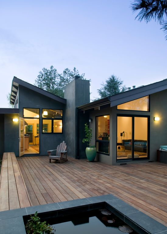 Deck with French doors, picture window, Pond