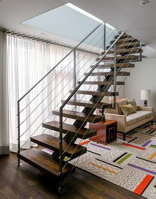 Contemporary Staircase with Standard height, Metal staircase, specialty door, Hardwood floors, can lights, specialty window