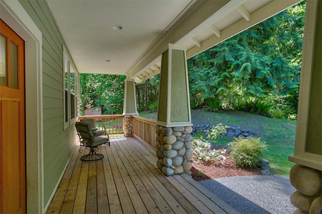 Craftsman Porch with Glass panel door, Paint, Deck Railing, Wrap around porch, Casement, Pathway